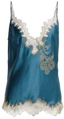 Carine Gilson - Lace Trimmed Silk Satin Camisole - Womens - Blue Multi