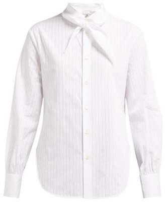 Vivienne Westwood Hals Neck Tie Pinstriped Cotton Poplin Shirt - Womens - White