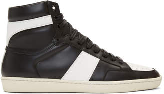 Saint Laurent Black and White SL/10 High-Top Sneakers