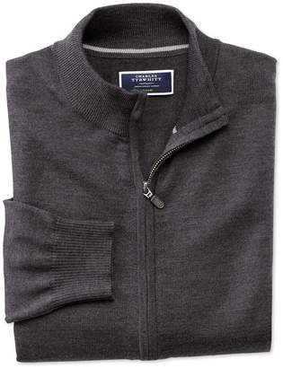 Charles Tyrwhitt Charcoal Merino Wool Zip Through Cardigan Size Large