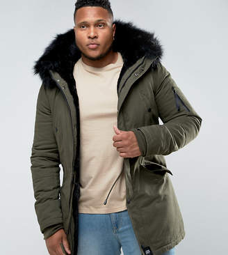 Asos Sixth June Parka Jacket In Khaki With Faux Fur Hood exclusive to