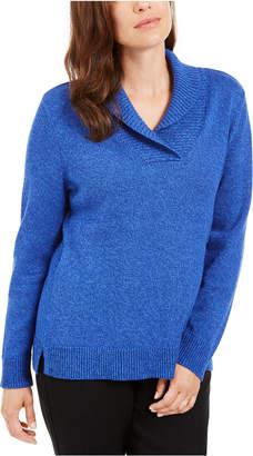 Karen Scott Cotton Marled Shawl-Collar Sweater