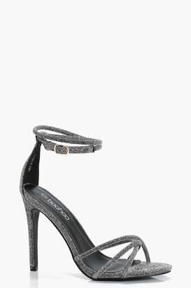 boohoo Metallic Ankle Wrap Heels