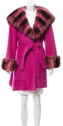 Couture Bisang Chinchilla-Trimmed Coat