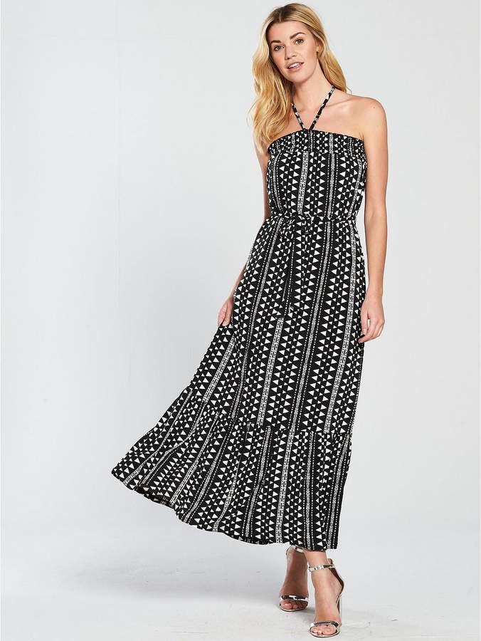 Halter Neck Printed Jersey Maxi Dress
