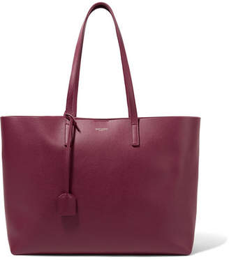 Saint Laurent Shopper Large Textured-leather Tote - Merlot
