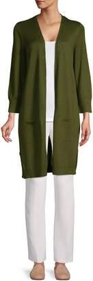Kasper Suits Ribbed Open Cardigan