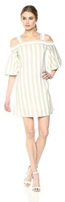 Taylor Dresses Women's Cold Shoulder Flyaway Sleeve Stripe