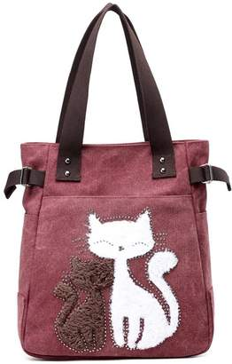 Homekit Women Canvas Handbag Tote Bag Zipper Shoulder Bag with Cute Cats Design Purse Top Handle Beach Satchel Bag