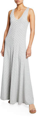 Joan Vass Striped Sleeveless V-Neck Maxi Dress