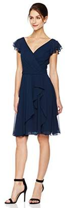 Cambridge Silversmiths The Collection Women's Draped V-Neckline and Petal Cap Sleeves Short Dress 0