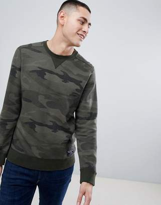 Abercrombie & Fitch Destroyed Military Camo Print Logo Crewneck Sweatshirt in Green