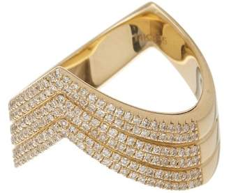 Ef Collection 14K Yellow Gold Pave Diamond Shield Ring - Size 7 - 0.51 ctw