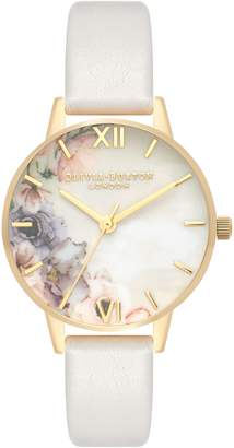 Olivia Burton Watercolor Floral Leather Strap Watch, 30mm