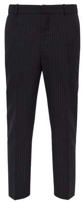 Alexander McQueen Mid Rise Pinstripe Wool Trousers - Mens - Navy