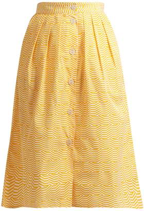Thierry Colson Riviera striped pleated cotton skirt