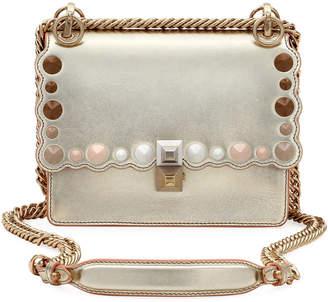 Fendi Kan I Mini Scalloped Studded Chain Shoulder Bag