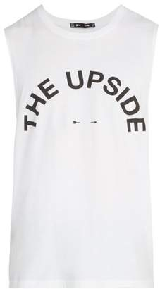 The Upside Big Logo Round Neck Cotton Tank Top - Mens - White