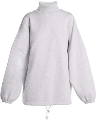 Balenciaga - Oversized Roll Neck Cotton Sweatshirt - Womens - Light Grey