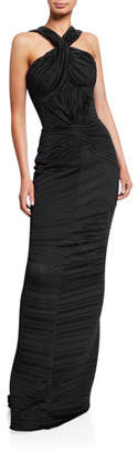 Zac Posen Plisse Jersey Halter-Neck Column Gown