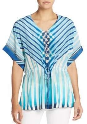 Robert Graham Liana Silk Stripe Blouson Top