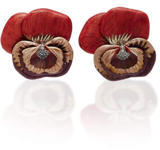 Silvia Furmanovich Marquetry Sculptural Red Pansy Earrings