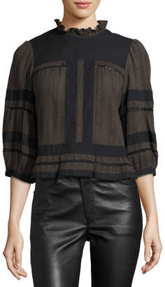 Etoile Isabel Marant Ritz 3/4-Sleeve Cotton Blouse, Bronze