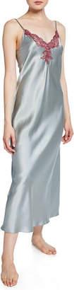 Christine Lingerie Capri Lace-Trim Silk Nightgown
