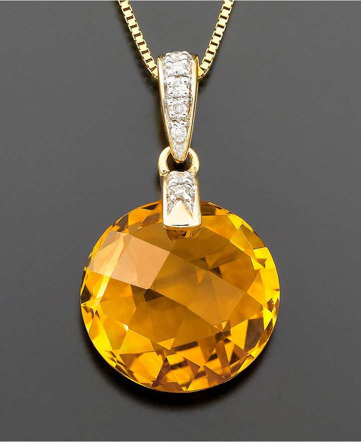 14k Gold Citrine (5-5/8 ct. t.w.) & Diamond Accent Pendant