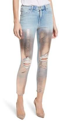 L'Agence Marcelle Foil Crop Skinny Jeans