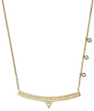 Meira T 14K White and Yellow Gold Curved Bar Necklace with Diamonds, 14""