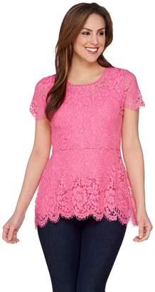 Isaac Mizrahi Live! Floral Lace Short Sleeve Peplum Top