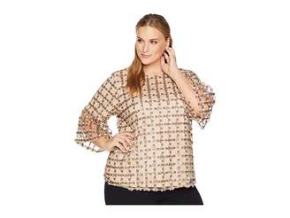 Calvin Klein Plus Plus Size Embroidered Net Bell Sleeve Blouse