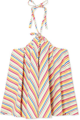 Rosie Assoulin Striped Seersucker Halterneck Top - Red