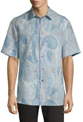 Brioni Printed Short-Sleeve Button-Down Shirt