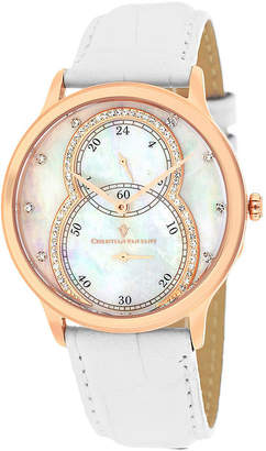 Mother of Pearl CHRISTIAN VAN SANT Christian Van Sant Infinie Womens Mother-of-Pearl White Leather Strap Watch