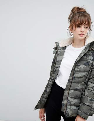 New Look Fitted Padded Parka Camo Jacket