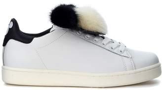 Sneaker Moa In Pelle Bianca Con Topolino In Pelliccia