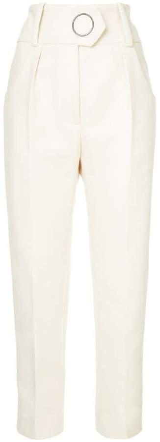 side stripe straight trousers