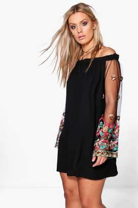 boohoo Plus Embellished Off The Shoulder Dress