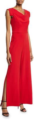 Bebe Tie-Waist Crepe Jumpsuit, Red