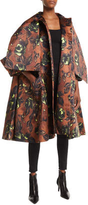 Richard Quinn Tie-Neck Button-Front Voluminous Floral-Print Coat