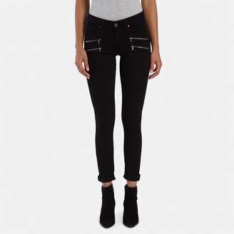 Paige Edgemont Ultra-Skinny Zipper Jean in Black Shadow