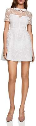 BCBGeneration Embroidered Organza Fit-and-Flare Dress