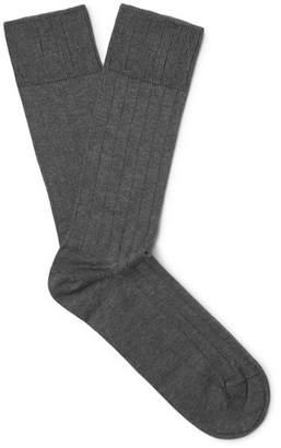 John Smedley Delta Ribbed Sea Island Cotton-Blend Socks