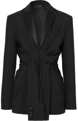 Alexander Wang Tie-front Silk Satin-trimmed Wool And Mohair-blend Blazer - Black