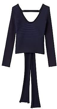Tibi Women's Ribbed Scoopneck Wrap Pullover