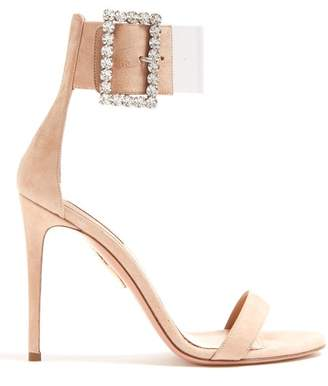 Aquazzura Casablanca 105 Suede Sandals - Womens - Nude