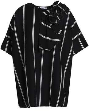 Brunello Cucinelli Bead-Embellished Ruffle-Trimmed Striped Cotton-Jersey T-Shirt