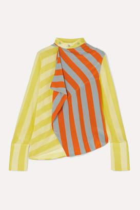 J.W.Anderson Draped Striped Silk Crepe De Chine Top - Yellow